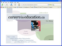 Small picture of www.careersineducation.ca home page