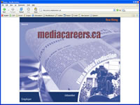 Small picture of www.mediacareers.ca home page